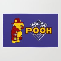 pooh Area & Throw Rugs featuring Doctor Pooh by cû3ik designs