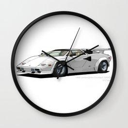 Lamborghini Countach 5000QV Bianco Polo Park (US spec) Wall Clock