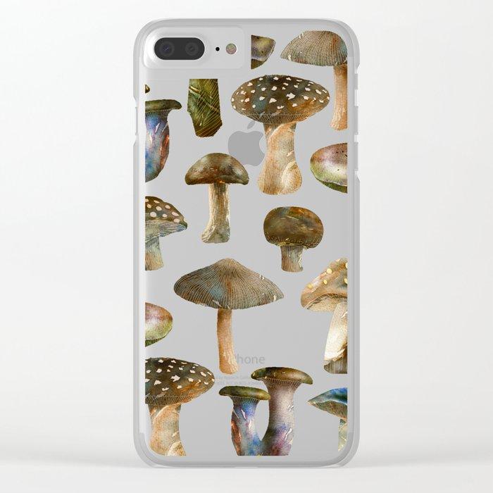 Mushroom Pattern Clear iPhone Case