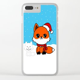 A Fox in the Snow Clear iPhone Case