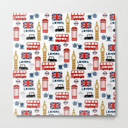 London travel pattern cute england print for nursery kids room boys or girls decor Metal Print