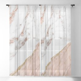 Marble rose gold blended Sheer Curtain