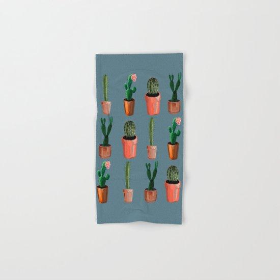 Various Cacti Blue Hand & Bath Towel