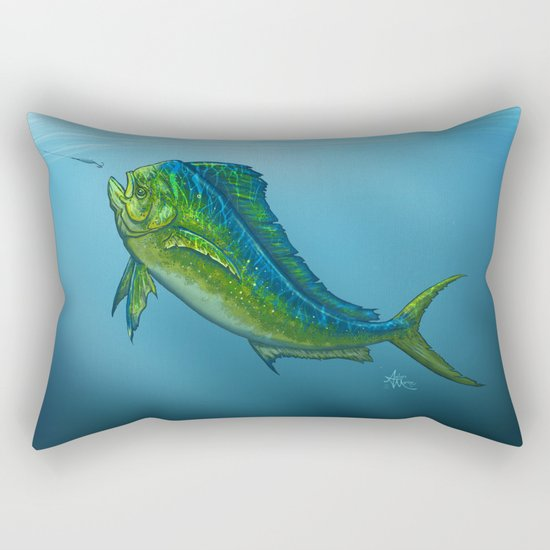 """El Dorado"" by Amber Marine ~ Mahi Mahi / Dolphin Fish Art, (c) 2015 Rectangular Pillow"