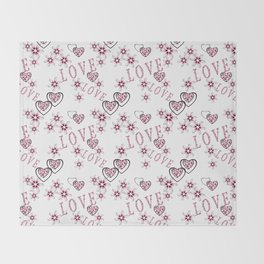 Openwork pattern with hearts. Throw Blanket