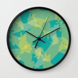 Blue & Yellow Corgi Pattern Wall Clock