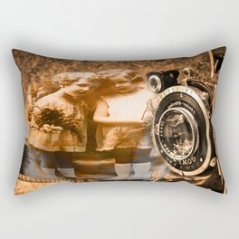 Vintage children photograph collage with vintage camera and film Rectangular Pillow