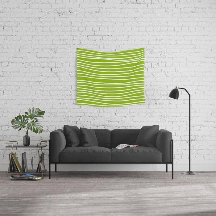 Apple Green & White Maritime Hand Drawn Stripes - Mix & Match with Simplicity of Life Wall Tapestry