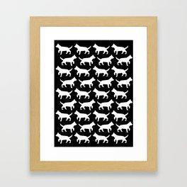 Black with white dogs pattern  Framed Art Print