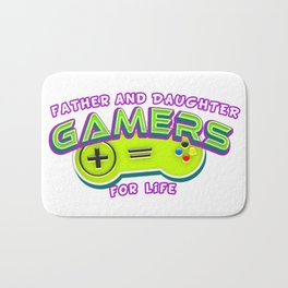 Father and Daughter Gamers For Life Bath Mat