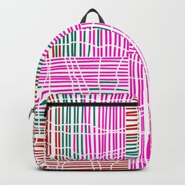 Red, Teal, Pink Vein and Stripe Patterns Backpack