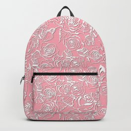 Roses papercut lace on pink Backpack