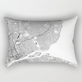 Detroit White Map Rectangular Pillow