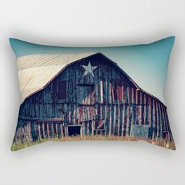 Star Bright - Old Rustic Red Barn With Painted Star on Summer Day in Oklahoma Rectangular Pillow