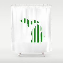 Green And White Michigan Shower Curtain