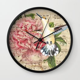Hummingbird Peony Song Wall Clock