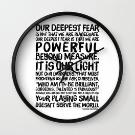 Inspirational Print. Powerful Beyond Measure. Marianne Williamson, Nelson Mandela quote. Wall Clock