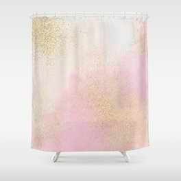 Pretty In Pink And Gold Delicate Abstract Painting Shower Curtain