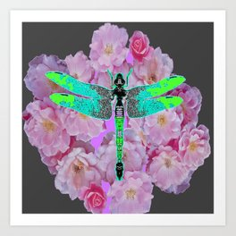 GREY COLOR EMERALD DRAGONFLY PINK ROSES Art Print