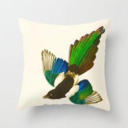 Magpie Vintage Scientific Bird Illustration Throw Pillow