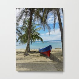 Boat on a tropical beach with coconut tree Metal Print