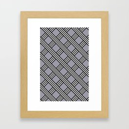 Pantone Lilac Gray, Black & White Diagonal Stripes Lattice Pattern Framed Art Print