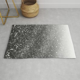 Silver Gray Black Glitter #2 (Faux Glitter - Photography) #shiny #decor #art #society6 Rug