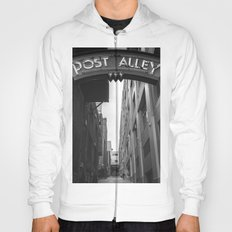 Post Alley in Seattle Washington - Black and White Hoody