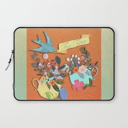 Tea Time With Flowers Laptop Sleeve