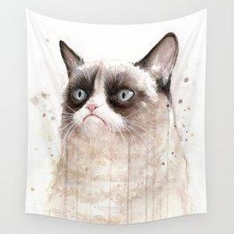 Grumpy Watercolor Cat Geek Meme Whimsical Animals Wall Tapestry