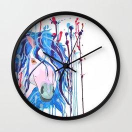 Watercolour pink horse with blue hair  head Wall Clock
