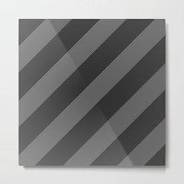 Stripes Diagonal Black & Gray Metal Print