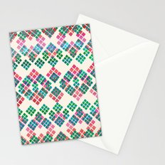 Green Red Geo Pattern Stationery Cards