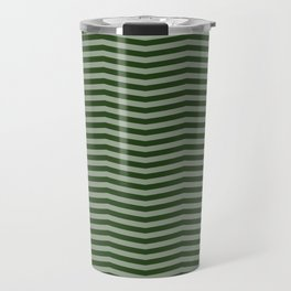 Dark Forest Green Chevron Zigzag Stripes Travel Mug
