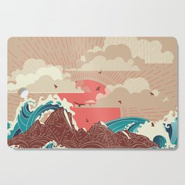 Stylized big waves of ocean or sea at sunset landscape Cutting Board