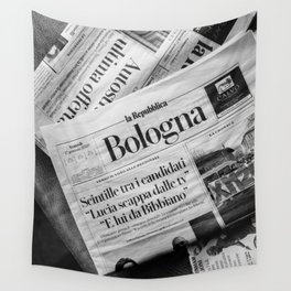 Paper of Bologna | Black and white Italy travel photography Wall Tapestry