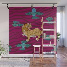 Foo Leopard on Magenta Wall Mural