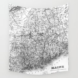 Vintage Map of Maine (1894) BW Wall Tapestry