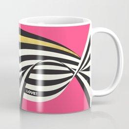 LOVE! – Wavy Stripes on Rich Pink Coffee Mug