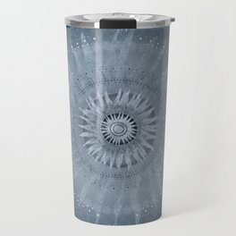 """Indigo blue & Cinder Vault Mandala(Silver stars)"" Travel Mug"