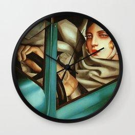 Classical Masterpiece 'My Portrait - Self-Portrait in the Green Bugattis by Tamara de Lempicka Wall Clock