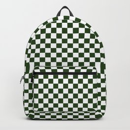Dark Forest Green and White Check Backpack