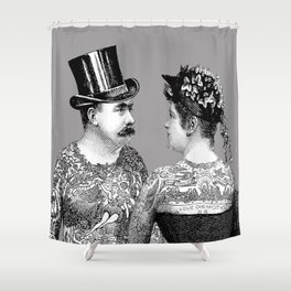 Tattooed Victorian Lovers | Tattooed Couple | Vintage Tattoos | Victorian Tattoos | Victorian Gothic Shower Curtain