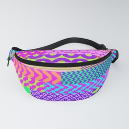 Modern geometrical abstract pink teal lime green stripes Fanny Pack