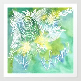 Watercolor Green and Yellow Bloom Floral Botanical Line Drawing Art Print