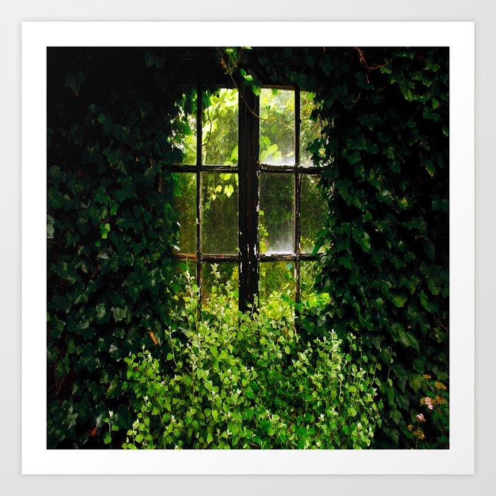 Green idyllic overgrown cottage garden window Kunstdrucke