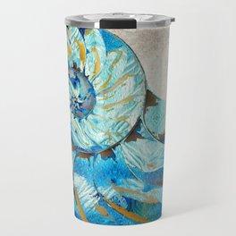Tropical Blue Beach Art - Nautilus Shell Bleu 2 - Sharon Cummings Travel Mug