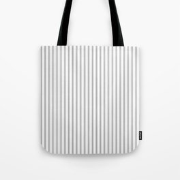 Mattress Ticking Narrow Striped Pattern in Charcoal Grey and White Tote Bag