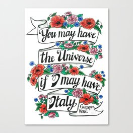 Hand-lettered Verdi Italy quote with flowers Canvas Print