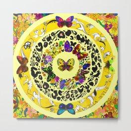 Floral Butterflies - Lemon Yellow Metal Print